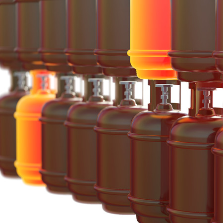 propane gas: Propane gas cylinders isolated on a white background . 3d illustration.