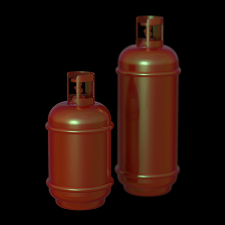 Propane gas cylinder isolated on a black background . 3d illustration.