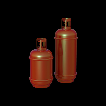 cilindro de gas: Propane gas cylinder isolated on a black background . 3d illustration.