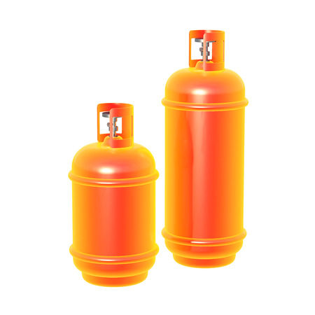 lpg: Propane gas cylinder isolated on a whitebackground . 3d illustration Stock Photo
