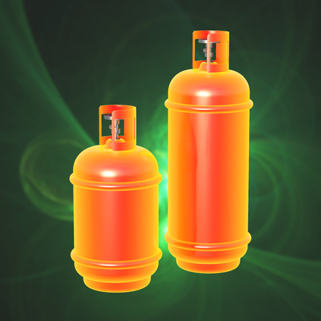 Propane gas cylinder isolated on a green background . 3d illustration.