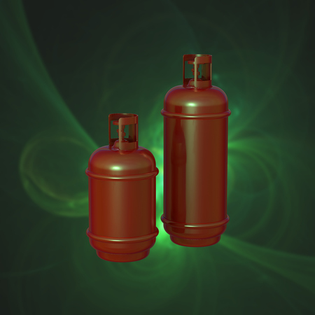 lpg: Propane gas cylinder isolated on a green background . 3d illustration.