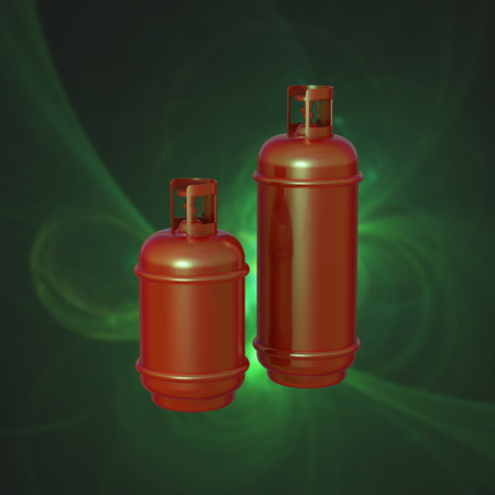 cilindro de gas: Propane gas cylinder isolated on a green background . 3d illustration.