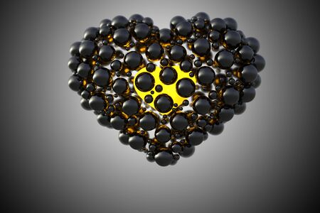 black heart made of spheres with reflections isolated on space background. Happy valentines day 3d illustration.
