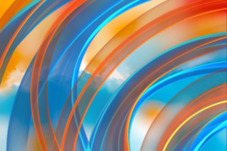 abstract red and blue wavy smoke flame over cloud background.