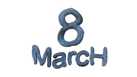 8 March symbol. Figure of eight made of blue city blocks or fur . Can be used as a decorative greeting grungy or postcard for international Womans Day 3d illustration Stock Photo