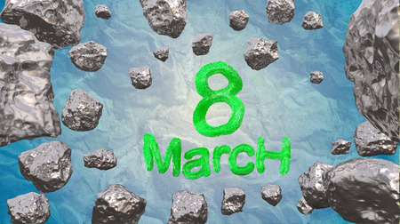 8 March symbol. Figure of eight made of green city blocks or fur flying in the space with asteroids. Can be used as a decorative greeting grungy or postcard for international Womans Day. 3d illustration