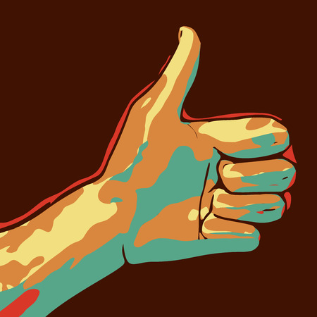 Cartoon drawing of a thumbs up.