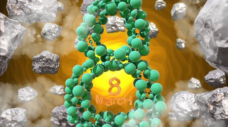 8 March symbol. Figure of eight made of green spheres flying in the space with asteroids. Can be used as a decorative greeting grungy or postcard for international Womans Day. 3d illustration