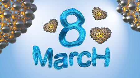 8 March symbol. Figure of eight made of blue city blocks or fur flying in the air with golden hearts . Can be used as a decorative greeting or postcard for international Womans Day 3d illustration