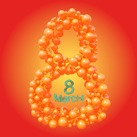 8 March symbol. Figure of eight made of orange spheres flying in the space. Can be used as a decorative greeting grungy or postcard for international Womans Day. 3d illustration Stock Photo