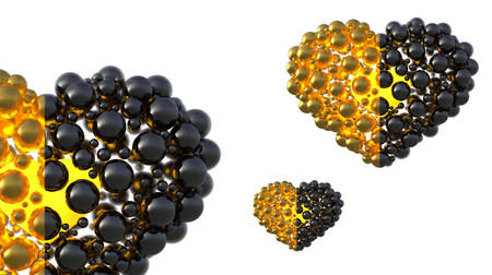 gold and black caviar hearts made of spheres with reflections isolated on bright background. Happy womans day 3d illustration