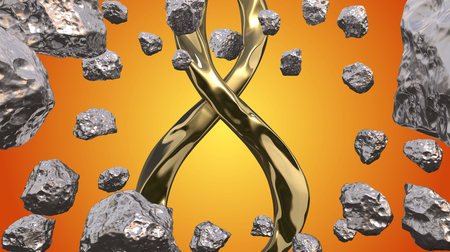 platinum: 8 March symbol. Figure of eight made of cast gold platinum or silver flying in the air with asteroid field in front. Decorative greeting or postcard for international Womans Day 3d illustration Stock Photo