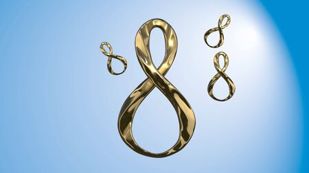 8 March symbol. Figure of eight made of cast gold platinum or silver flying in the air with copyspace. Decorative greeting or postcard for international Womans Day 3d illustration