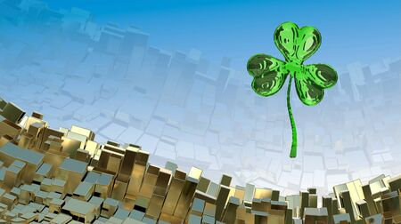 St. Patricks Day 3d effect clover over abstract mountain landscape background of metal boxes. Decorative greeting postcard with copyspace for your text. 3d illustration Stock Photo