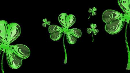clover buttons: St. Patricks Day 3d effect clover over space background. Decorative greeting grungy or postcard. Simple banner for the site, shop, magazine promotions with place for text. 3d illustration Stock Photo