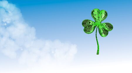 St. Patricks Day 3d effect clover over space background. Decorative greeting grungy or postcard. Simple banner for the site, shop, magazine promotions with place for text. 3d illustration Stock Photo