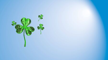 St. Patricks Day 3d effect clover over space background. Decorative greeting grungy or postcard. Simple banner for the site, shop, magazine promotions with place for text. 3d illustration.