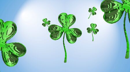 clover buttons: St. Patricks Day 3d effect clover over space background. Decorative greeting grungy or postcard. Simple banner for the site, shop, magazine promotions with place for text. 3d illustration.