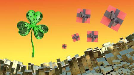 St. Patricks Day 3d clover over abstract mountains landscape background of metal boxes and flying gift boxes. Decorative greeting postcard with copyspace for your text. 3d illustration. Stock Photo