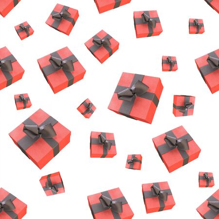newyear: Christmas New Year colorful red gift boxes with bows of ribbons flying on white background. seamless pattern. 3d illustration. Stock Photo