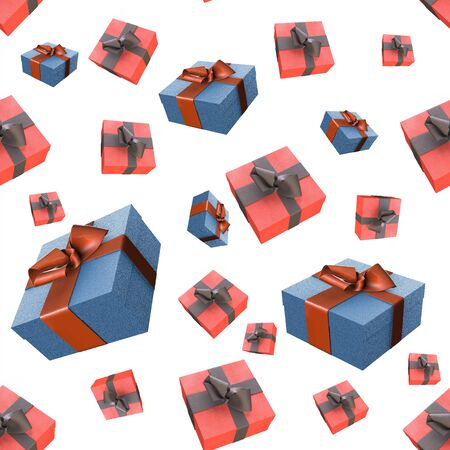 newyear: Christmas New Year colorful red and black gift boxes with bows of ribbons flying on white background. seamless pattern. 3d illustration.