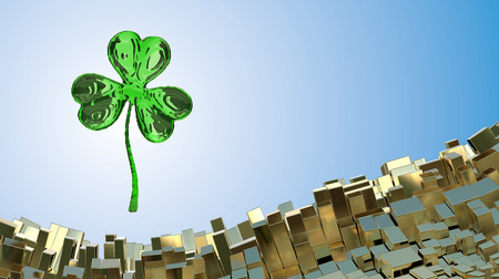 St. Patricks Day 3d effect clover over abstract mountain landscape background of metal boxes. Decorative greeting postcard with copyspace for your text. 3d illustration. Stock Photo