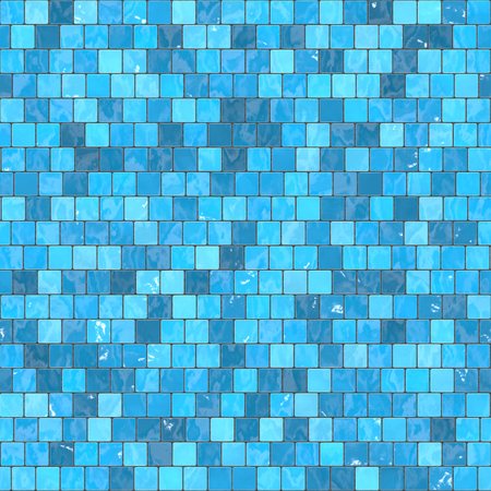 ceramic blue mosaic background seamless texture in swimming pool or kitchen. Stock Photo