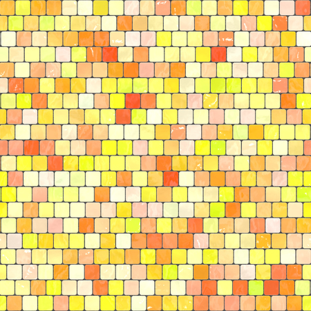 Ceramic Yellow Orange Mosaic Background Seamless Texture In Swimming Pool Or Kitchen Stock Photo