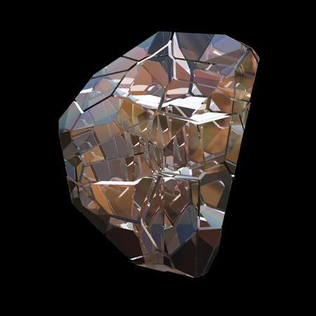 Verbazingwekkende kleurrijke Diamond Quartz Rainbow Flame Blue Aqua Aura kristal cluster close-up macro geïsoleerd op zwarte achtergrond. Abstracte juwelen 3d illustratie.