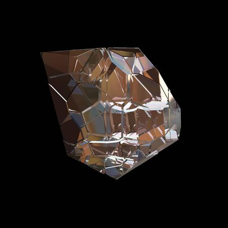 Amazing colorful Diamond Quartz Rainbow Flame Blue Aqua Aura crystal cluster closeup macro isolated on black background. abstract jewelry 3d illustration Stock Photo