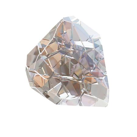 Amazing colorful Diamond Quartz Rainbow Flame Blue Aqua Aura crystal cluster closeup macro isolated on white background. abstract jewelry 3d illustration. Reklamní fotografie