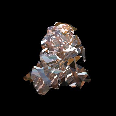 놀라운 화려한 다이아몬드 석 영 레인 보우 불꽃 파란색 아쿠아 오라 크리스탈 클러스터 근접 촬영 매크로 검은 색 바탕에 격리. 추상 보석 3d 일러스트
