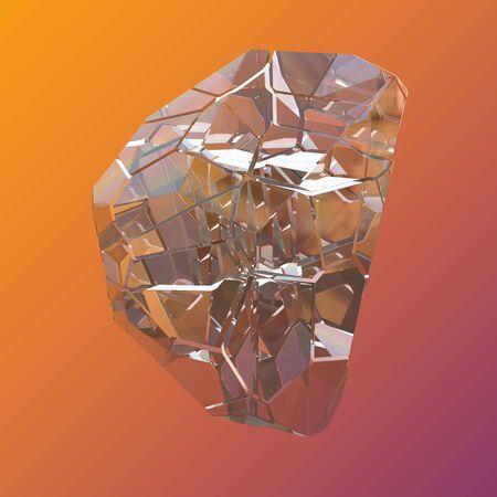 Amazing colorful Diamond Quartz Rainbow Flame Blue Aqua Aura crystal cluster closeup macro isolated on violet orange background. abstract jewelry 3d illustration.