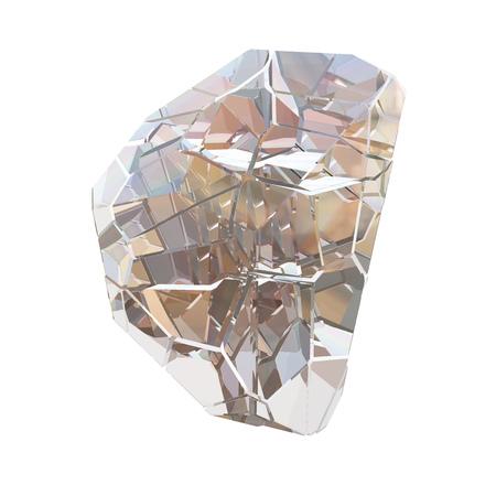 Amazing colorful Diamond Quartz Rainbow Flame Blue Aqua Aura crystal cluster closeup macro isolated on white background. abstract jewelry 3d illustration Stock Photo