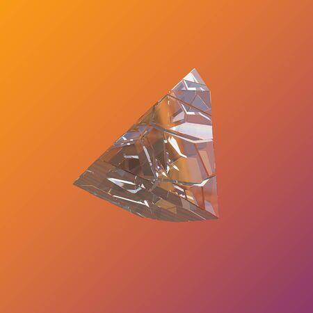 rainbow abstract: Amazing colorful Diamond Quartz Rainbow Flame Blue Aqua Aura crystal cluster closeup macro isolated on violet orange background. abstract jewelry 3d illustration.