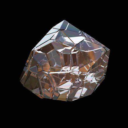 Amazing colorful Diamond Quartz Rainbow Flame Blue Aqua Aura crystal cluster closeup macro isolated on black background. abstract jewelry 3d illustration.