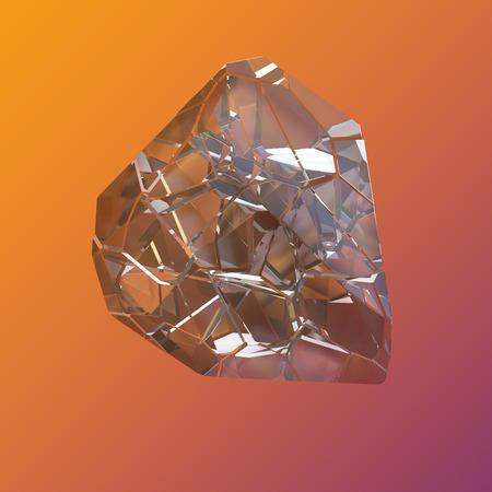놀라운 화려한 다이아몬드 석 영 무지개 불꽃 블루 아쿠아 오라 크리스탈 클러스터 근접 매크로 보라색 오렌지 배경에 고립. 추상 보석 3d 일러스트 레