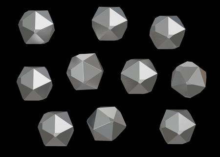 Crystal Stone gem macro minerale verzameling set van 10 eenheden, kwarts op zwarte achtergrond. 3D illustratie.