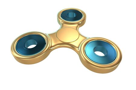 Colourful golden steel metal fidget finger spinner stress, anxiety relief toy 3d illustration.