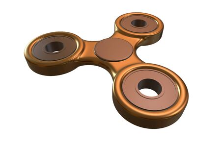 Colorful golden steel metal fidget finger spinner stress, anxiety relief toy 3d illustration
