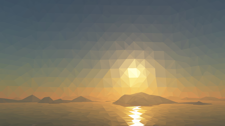 tibet: Mountains background with sun in glacier. illustration of many triangles.