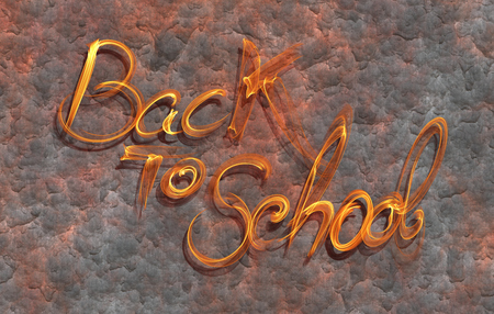 Back to school words lettering made by white fire on corrodet metal background. Stock Photo