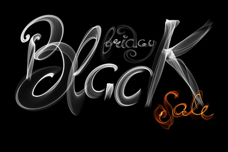Black Friday Sale handmade lettering, calligraphy made wit fire, grunge texture and light background Stock Photo