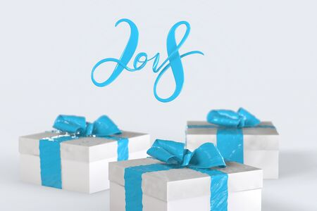 2018 Christmas New Year lettering with colorful gift boxes with bows of ribbons and golden christmas tree on the white background. 3d illustration.