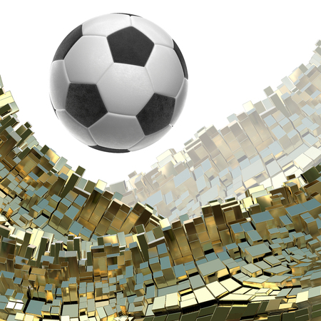 Soccer-ball isolated on golden architectural background 3d illustration Stok Fotoğraf