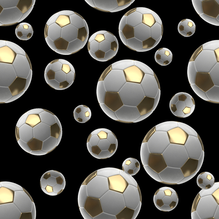 Soccer-balls isolated on black background seamless pattern 3d illustration Stok Fotoğraf