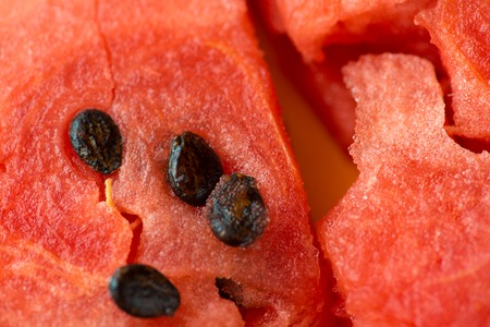 ripe watermelon flesh closeup macro texture background Stock Photo
