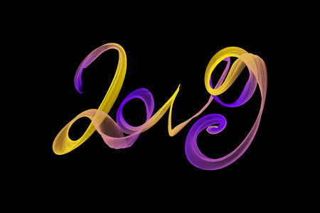 Happy new year 2019 isolated numbers lettering written with rainbow fire flame or smoke on black background