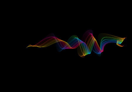 abstract rainbow wavy smoke flame isolated over black background. Stock Photo